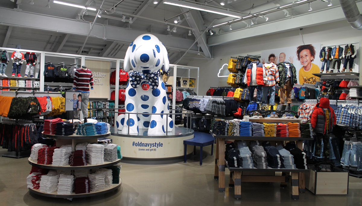 Interior of Old Navy Times Square Store Highlighting Boys Section