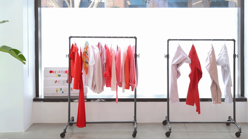 Colorful Clothes on Racks within our Banana Republic Design Studio