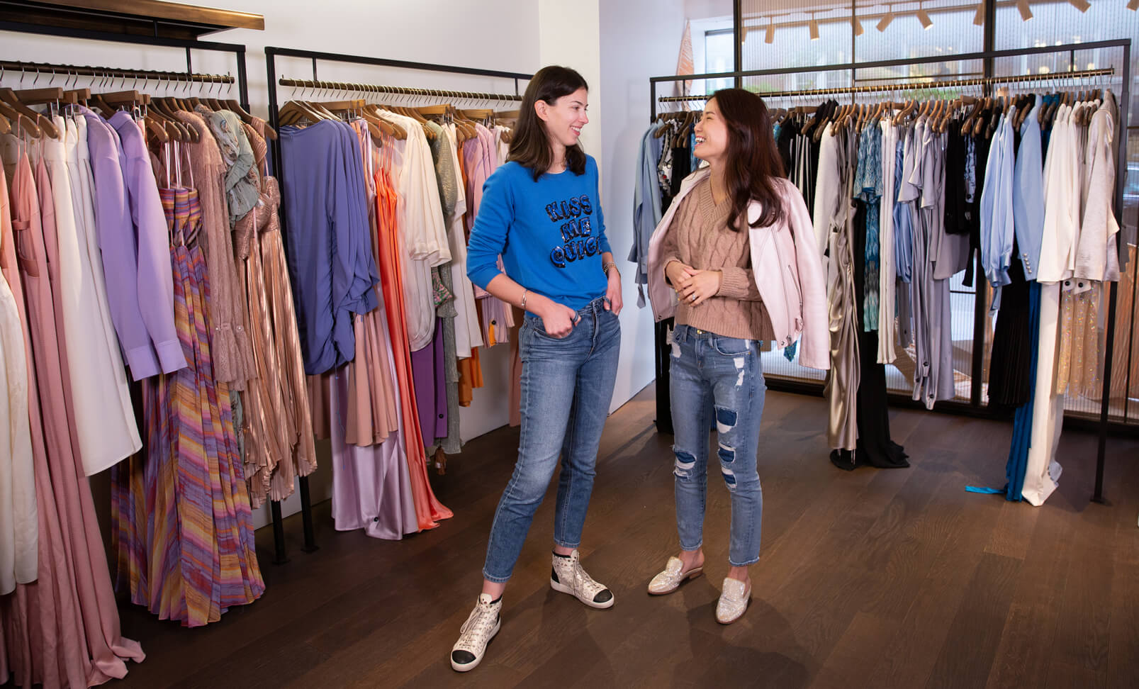 Women chatting in a store