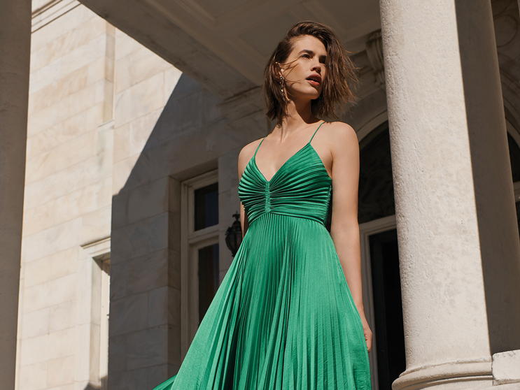 Woman Wearing Long Green Dress