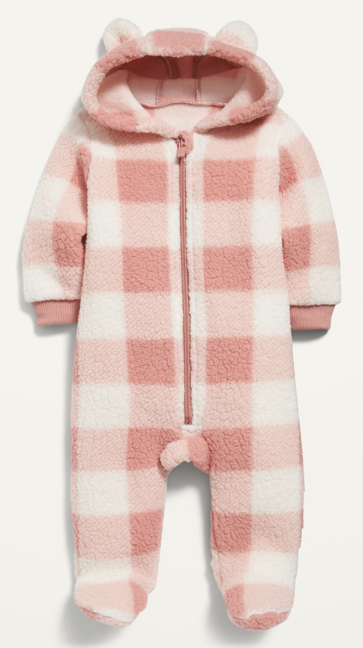 Old Navy Unisex Plaid Sherpa One-Piece for Baby