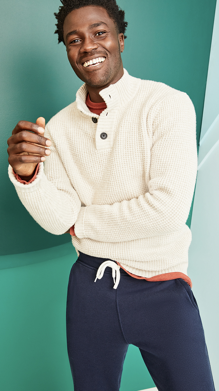 Old Navy Textured Button-Down Mock-Neck Sweater for Men