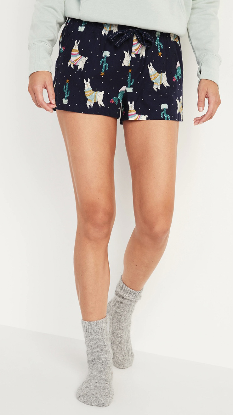 Old Navy's Patterned Flannel Boxer Pajama Shorts for Women