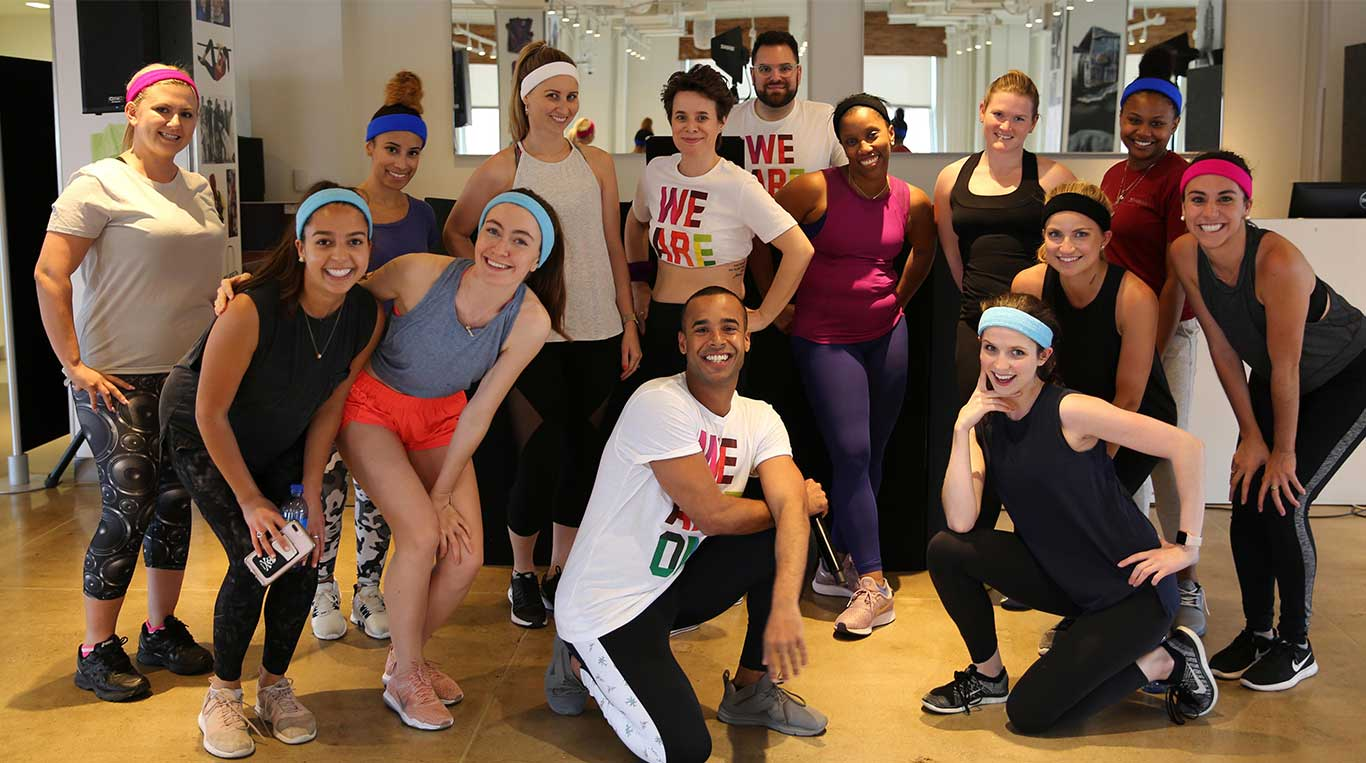 Employees Smiling after Cardio Class
