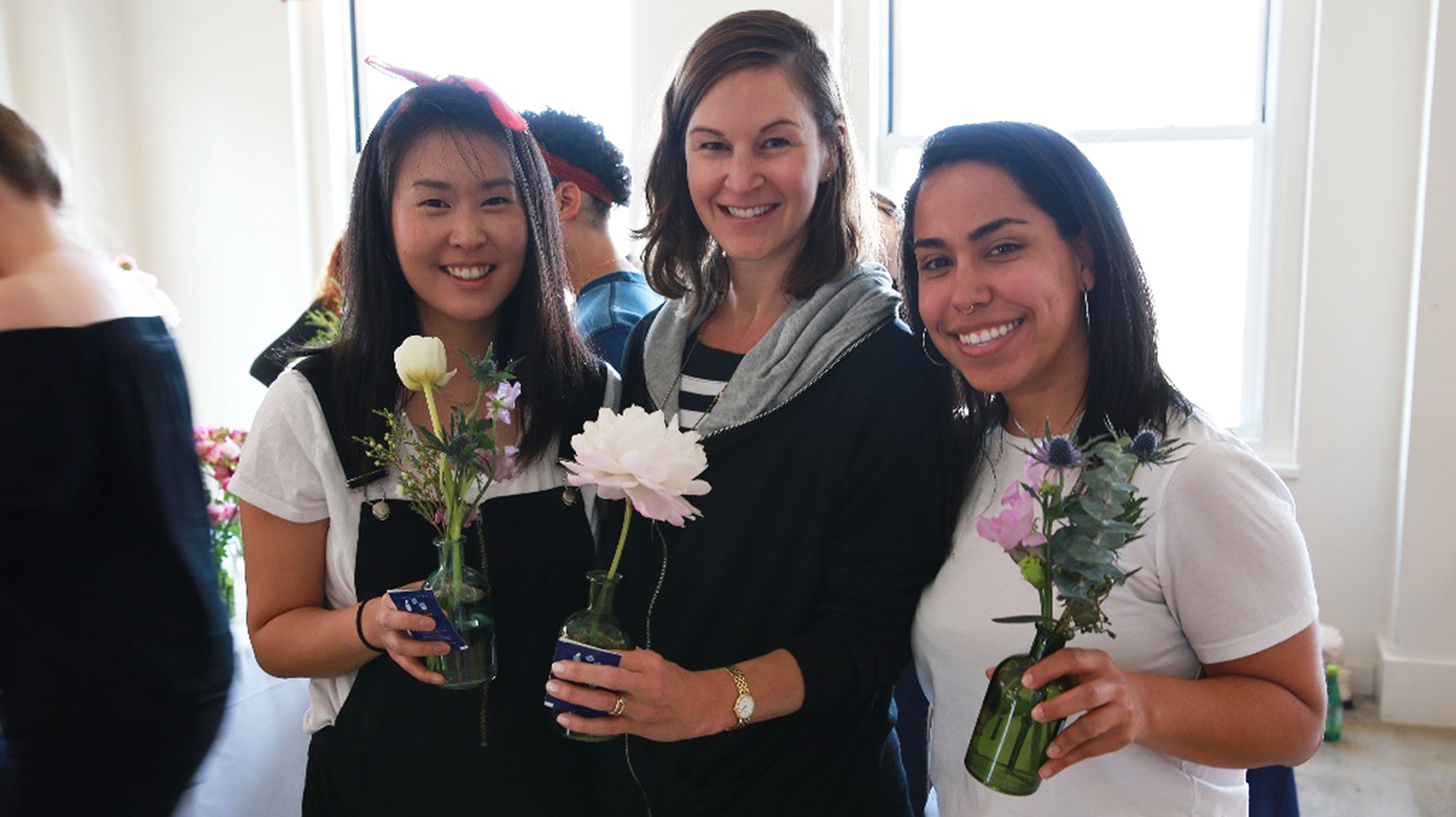 Employees Receiving Flowers for Mother's Day
